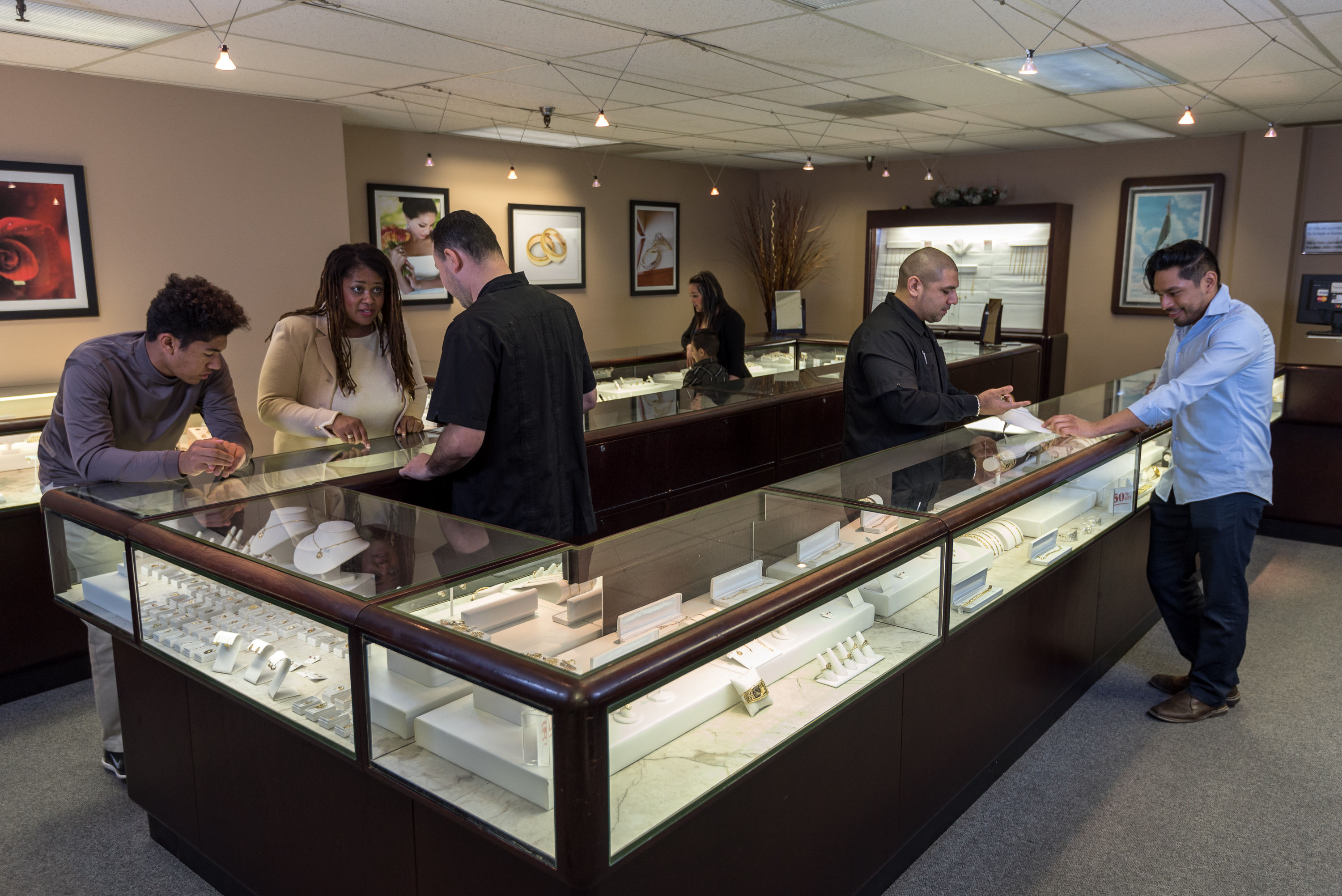 Customers in jewelry department